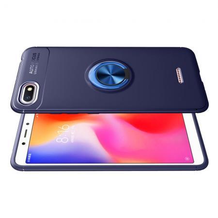 Силиконовый Чехол для Магнитного Держателя с Кольцом для Пальца Подставкой для Xiaomi Redmi 6A Синий