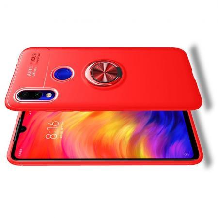 Силиконовый Чехол для Магнитного Держателя с Кольцом для Пальца Подставкой для Xiaomi Redmi 7 Красный