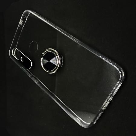 Силиконовый Чехол для Магнитного Держателя с Кольцом для Пальца Подставкой для Xiaomi Redmi 7 Прозрачный