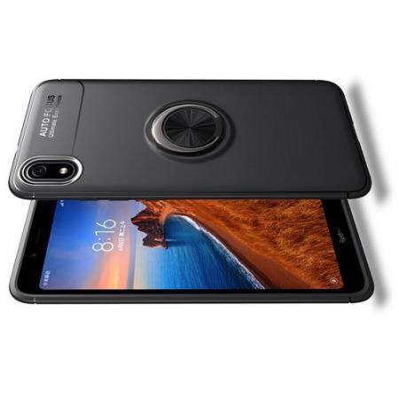 Силиконовый Чехол для Магнитного Держателя с Кольцом для Пальца Подставкой для Xiaomi Redmi 7A Черный