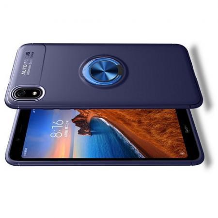 Силиконовый Чехол для Магнитного Держателя с Кольцом для Пальца Подставкой для Xiaomi Redmi 7A Синий