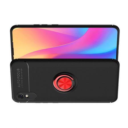 Силиконовый Чехол для Магнитного Держателя с Кольцом для Пальца Подставкой для Xiaomi Redmi 9A Красный / Черный