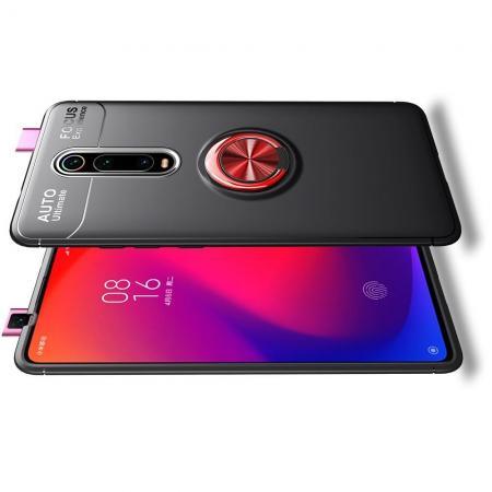 Силиконовый Чехол для Магнитного Держателя с Кольцом для Пальца Подставкой для Xiaomi Redmi K20 Красный / Черный