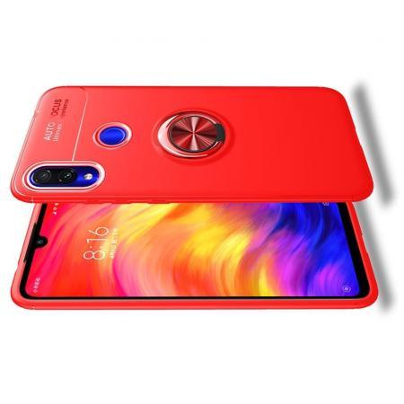 Силиконовый Чехол для Магнитного Держателя с Кольцом для Пальца Подставкой для Xiaomi Redmi Note 7 / Note 7 Pro Красный
