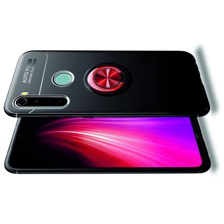 Силиконовый Чехол для Магнитного Держателя с Кольцом для Пальца Подставкой для Xiaomi Redmi Note 8 Красный / Черный