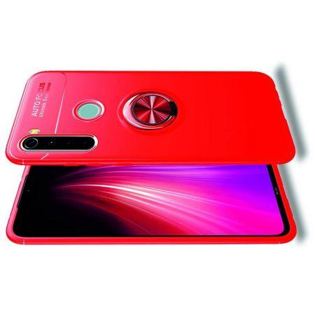 Силиконовый Чехол для Магнитного Держателя с Кольцом для Пальца Подставкой для Xiaomi Redmi Note 8 Красный