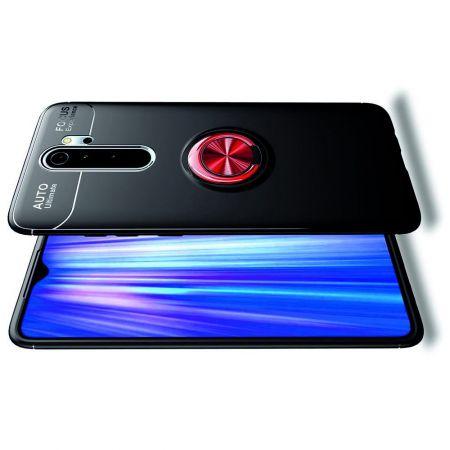 Силиконовый Чехол для Магнитного Держателя с Кольцом для Пальца Подставкой для Xiaomi Redmi Note 8 Pro Красный / Черный
