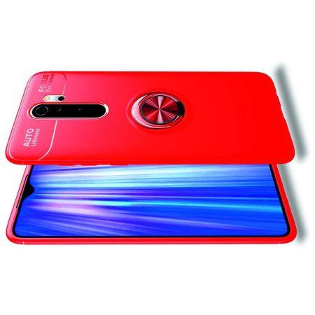 Силиконовый Чехол для Магнитного Держателя с Кольцом для Пальца Подставкой для Xiaomi Redmi Note 8 Pro Красный