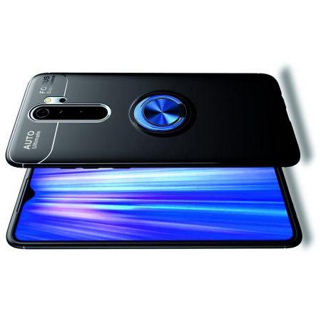 Силиконовый Чехол для Магнитного Держателя с Кольцом для Пальца Подставкой для Xiaomi Redmi Note 8 Pro Синий / Черный