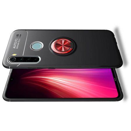 Силиконовый Чехол для Магнитного Держателя с Кольцом для Пальца Подставкой для Xiaomi Redmi Note 8T Красный / Черный