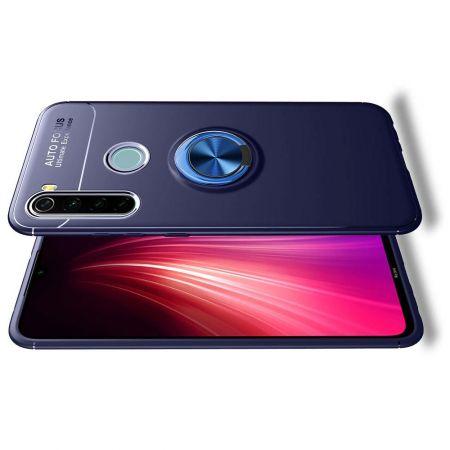 Силиконовый Чехол для Магнитного Держателя с Кольцом для Пальца Подставкой для Xiaomi Redmi Note 8T Синий