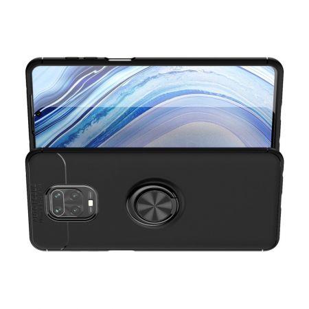 Силиконовый Чехол для Магнитного Держателя с Кольцом для Пальца Подставкой для Xiaomi Redmi Note 9 Pro / 9 Pro Черный