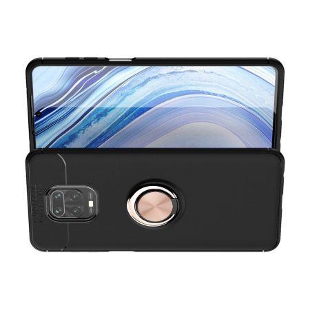 Силиконовый Чехол для Магнитного Держателя с Кольцом для Пальца Подставкой для Xiaomi Redmi Note 9 Pro / 9 Pro Розовое Золото / Черный