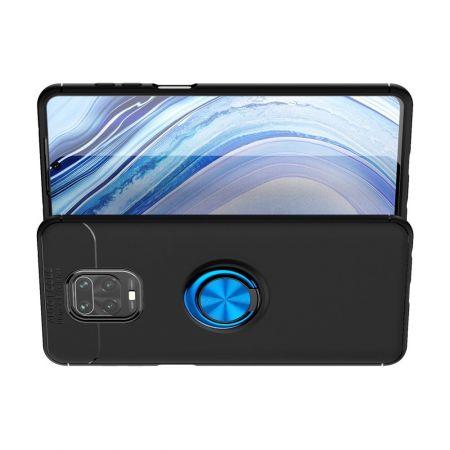 Силиконовый Чехол для Магнитного Держателя с Кольцом для Пальца Подставкой для Xiaomi Redmi Note 9 Pro / 9 Pro Синий / Черный
