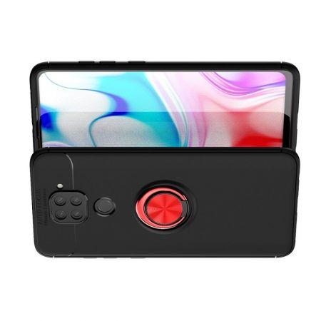 Силиконовый Чехол для Магнитного Держателя с Кольцом для Пальца Подставкой для Xiaomi Redmi Note 9 Pro / 9S / Note 9 Красный / Черный