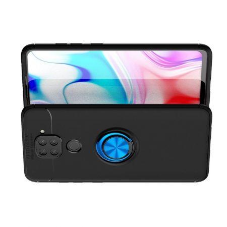 Силиконовый Чехол для Магнитного Держателя с Кольцом для Пальца Подставкой для Xiaomi Redmi Note 9 Pro / 9S / Note 9 Синий / Черный