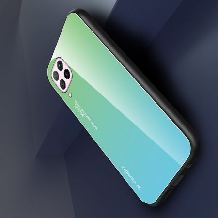 Силиконовый Стеклянный Бирюзовый Градиентный Корпус Чехол для Телефона Huawei P40 Lite