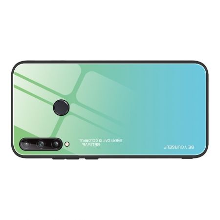Силиконовый Стеклянный Бирюзовый / Синий Градиентный Корпус Чехол для Телефона Huawei P40 lite E