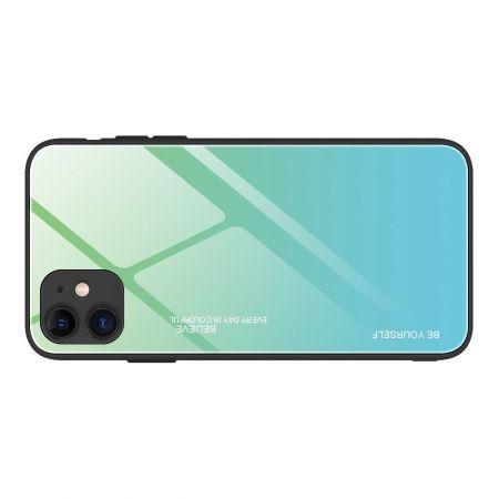 Силиконовый Стеклянный Бирюзовый / Синий Градиентный Корпус Чехол для Телефона iPhone 12 Pro 6.1 / Max 6.1
