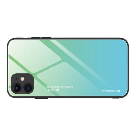 Силиконовый Стеклянный Бирюзовый / Синий Градиентный Корпус Чехол для Телефона iPhone 12 Pro Max 6.7