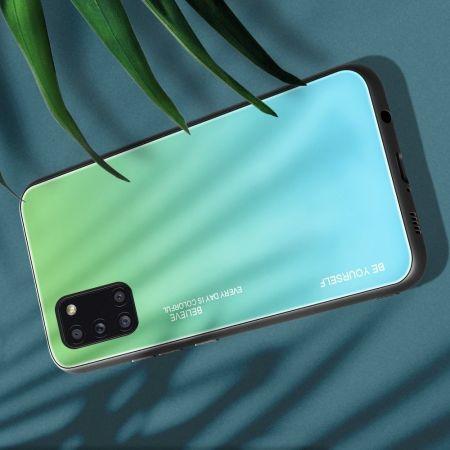 Силиконовый Стеклянный Бирюзовый / Синий Градиентный Корпус Чехол для Телефона Samsung Galaxy A31