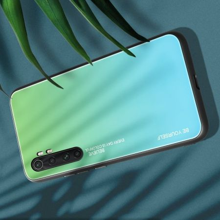 Силиконовый Стеклянный Бирюзовый / Синий Градиентный Корпус Чехол для Телефона Xiaomi Mi Note 10 Lite