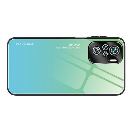 Силиконовый Стеклянный Бирюзовый / Синий Градиентный Корпус Чехол для Телефона Xiaomi Redmi Note 10