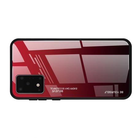 Силиконовый Стеклянный Черный Градиентный Корпус Чехол для Телефона Samsung Galaxy S20 Plus