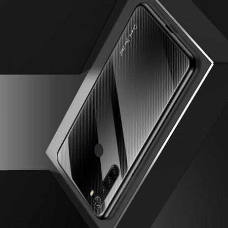 Силиконовый Стеклянный Черный Градиентный Корпус Чехол для Телефона Xiaomi Redmi Note 8