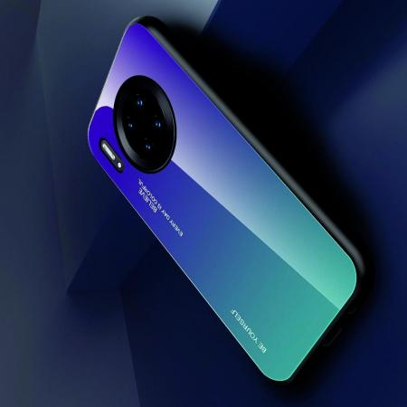 Силиконовый Стеклянный Фиолетовый Градиентный Корпус Чехол для Телефона Huawei Mate 30 Pro