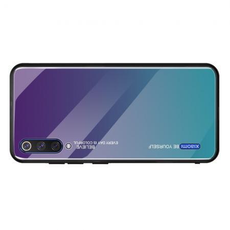 Силиконовый Стеклянный Фиолетовый Градиентный Корпус Чехол для Телефона Xiaomi Mi A3