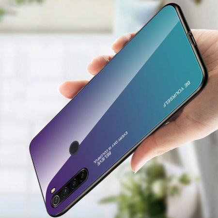 Силиконовый Стеклянный Фиолетовый / Синий Градиентный Корпус Чехол для Телефона Xiaomi Redmi Note 8T