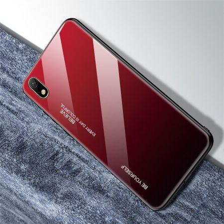 Силиконовый Стеклянный Красный / Черный Градиентный Корпус Чехол для Телефона Huawei Honor 8S / Y5 2019