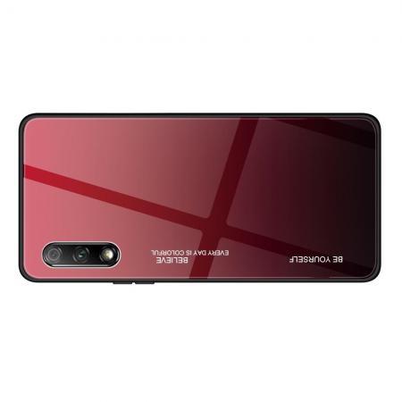 Силиконовый Стеклянный Красный / Черный Градиентный Корпус Чехол для Телефона Huawei Honor 9X