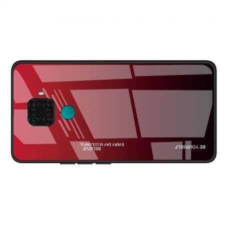 Силиконовый Стеклянный Красный / Черный Градиентный Корпус Чехол для Телефона Huawei Mate 30 Lite