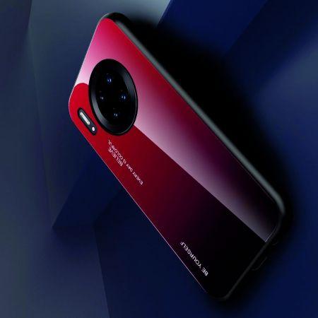 Силиконовый Стеклянный Красный / Черный Градиентный Корпус Чехол для Телефона Huawei Mate 30 Pro