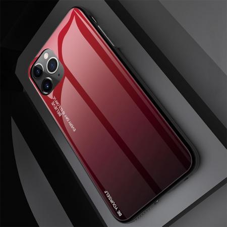 Силиконовый Стеклянный Красный / Черный Градиентный Корпус Чехол для Телефона iPhone 11 Pro