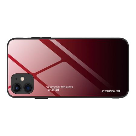Силиконовый Стеклянный Красный / Черный Градиентный Корпус Чехол для Телефона iPhone 12 Pro 6.1 / Max 6.1