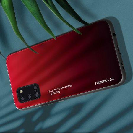 Силиконовый Стеклянный Красный / Черный Градиентный Корпус Чехол для Телефона Samsung Galaxy A31
