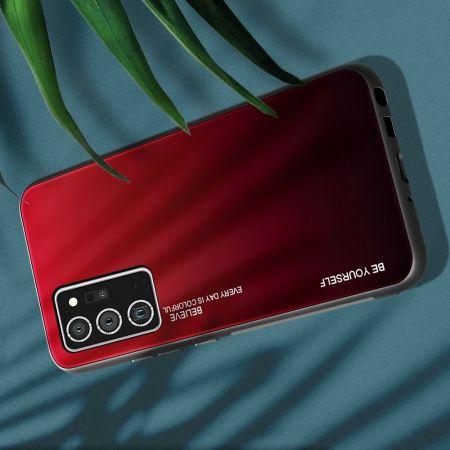 Силиконовый Стеклянный Красный / Черный Градиентный Корпус Чехол для Телефона Samsung Galaxy Note 20 Ultra
