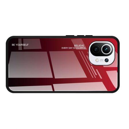 Силиконовый Стеклянный Красный / Черный Градиентный Корпус Чехол для Телефона Xiaomi Mi 11
