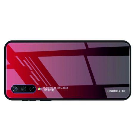 Силиконовый Стеклянный Красный / Черный Градиентный Корпус Чехол для Телефона Xiaomi Mi 9 Lite