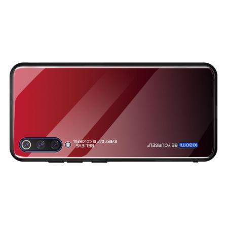 Силиконовый Стеклянный Красный / Черный Градиентный Корпус Чехол для Телефона Xiaomi Mi A3