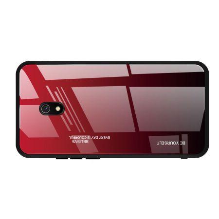 Силиконовый Стеклянный Красный / Черный Градиентный Корпус Чехол для Телефона Xiaomi Redmi 8A