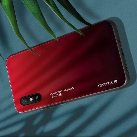 Силиконовый Стеклянный Красный / Черный Градиентный Корпус Чехол для Телефона Xiaomi Redmi 9A