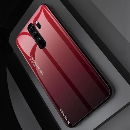 Силиконовый Стеклянный Красный / Черный Градиентный Корпус Чехол для Телефона Xiaomi Redmi Note 8 Pro