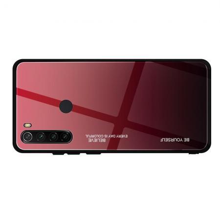 Силиконовый Стеклянный Красный / Черный Градиентный Корпус Чехол для Телефона Xiaomi Redmi Note 8