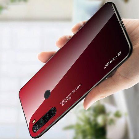 Силиконовый Стеклянный Красный / Черный Градиентный Корпус Чехол для Телефона Xiaomi Redmi Note 8T