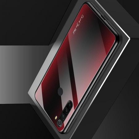 Силиконовый Стеклянный Красный Градиентный Корпус Чехол для Телефона Xiaomi Redmi Note 8