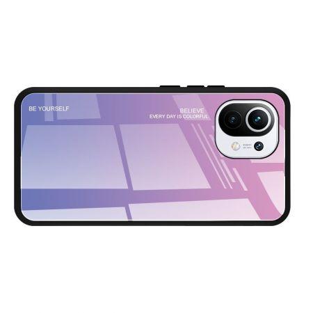 Силиконовый Стеклянный Розовый / Фиолетовый Градиентный Корпус Чехол для Телефона Xiaomi Mi 11